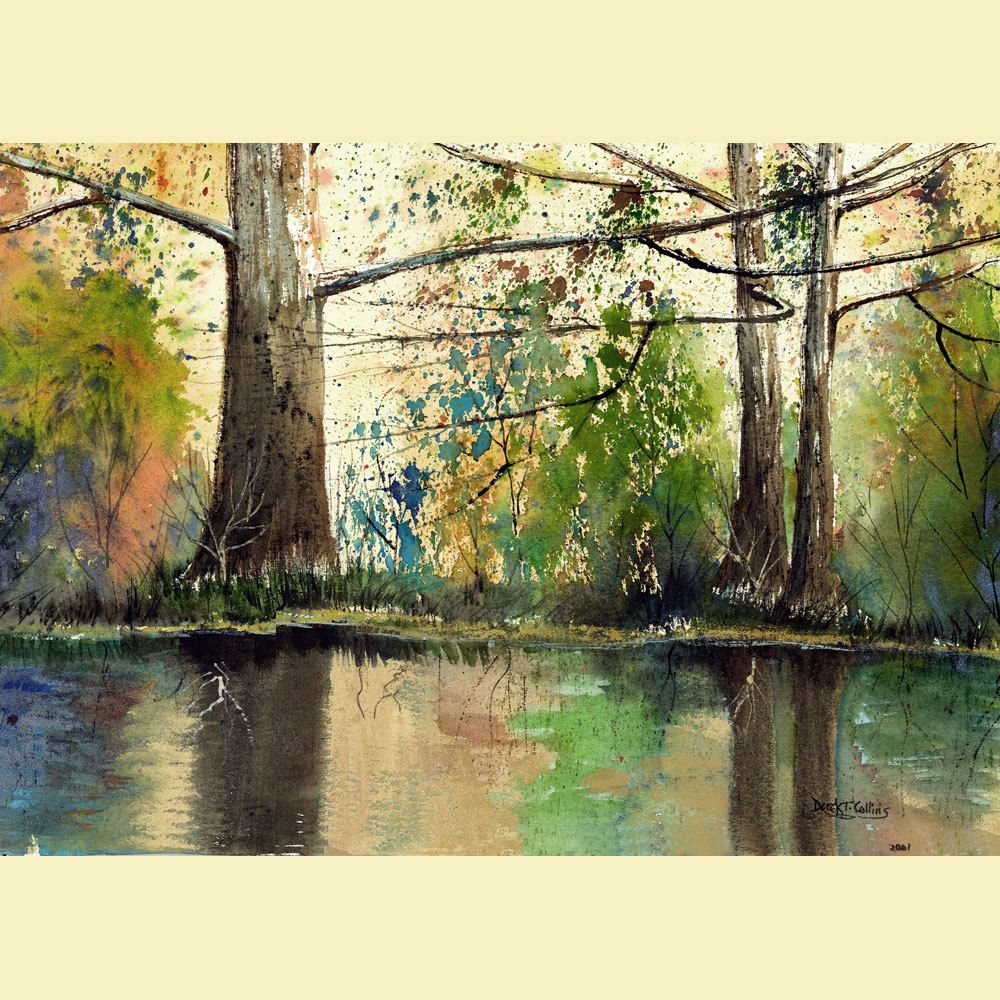 Landscape Painting watercolor sycamore Print River with trees water ...