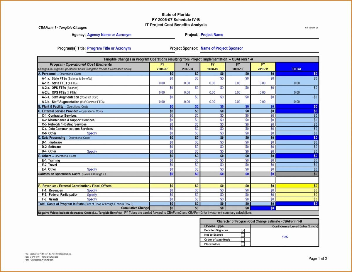 Cost Benefitysis Template Excel New Cost Benefit