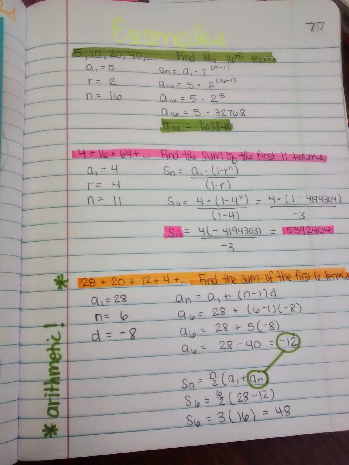 Math Love Algebra 2 Unit 4 Inb Pages Sequences And Series Sequence And Series Geometric Sequences High School Algebra