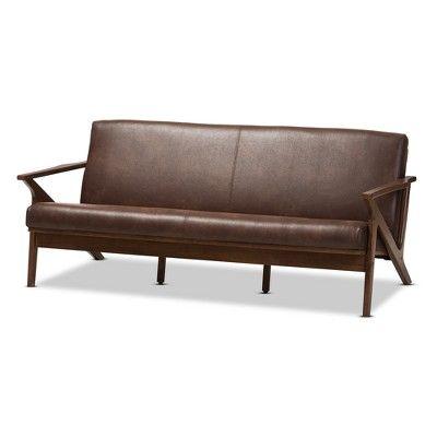 Bianca Mid Modern Walnut Wood Distressed Faux Leather 3 Seater Sofa Dark Brown Baxton Studio Faux Leather Sofa Modern Leather Sofa Best Leather Sofa
