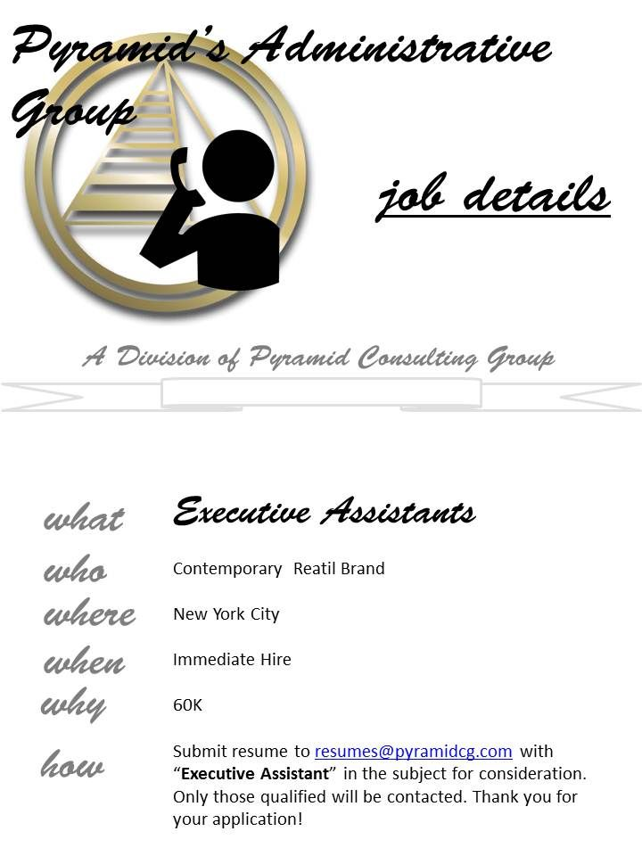 Executive #Assistant - email resumes@pyramidcg with  - finding resumes