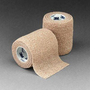 """3M Coban Self-Adh Wrap 3"""" x 5 yds by mfr. 3M Medical. $3.53. Coban self-adherent wrap is a laminate of nonwoven material and elastic fibers placed lengthwise to provide elasticity. The elastic wrap contains a cohesive material that makes it stick to itself but not to other materials or skin. Caution: This Product Contains Natural Rubber Latex Which May Cause Allergic Reactions. 3 inch x 5 yard (fully stretched) (75mm x 4,5m) Self-Adherent Wrap, Tan"""