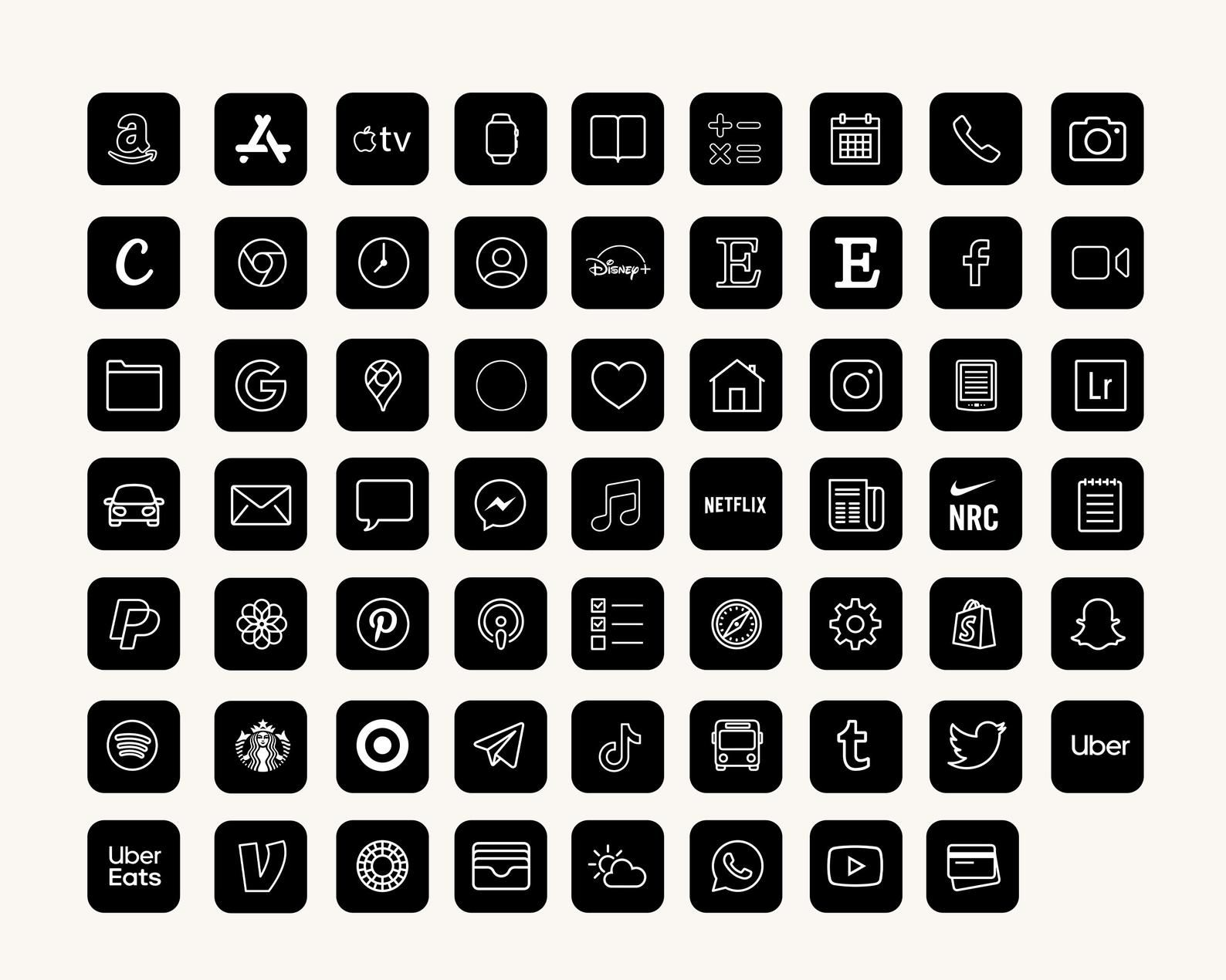 iOS14 App Icons | 62 App Pack | iPhone App Icons |