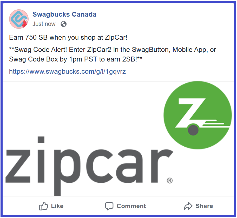 SwagBucks New #SwagCode #2 #Canada  Please enter ZipCar2 at