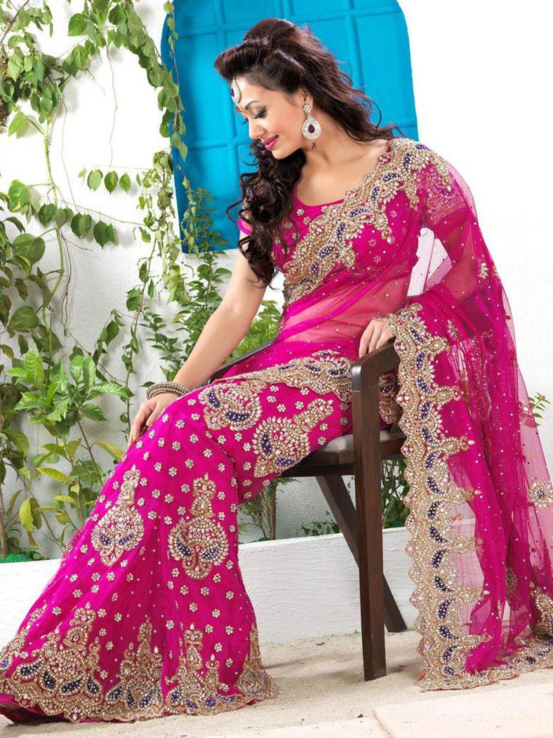 #Fuchsia Net #Lehenga #Style #Saree with Blouse Itemcode: SLSNS110 Price: $521.78 #Shop Now @ http://www.utsavfashion.com/saree/fuchsia-net-lehenga-style-saree-with-blouse/slsns110-itemcode