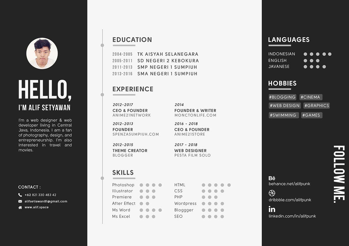 Landscape CV Resume A4 Free Download (.PSD) on Behance
