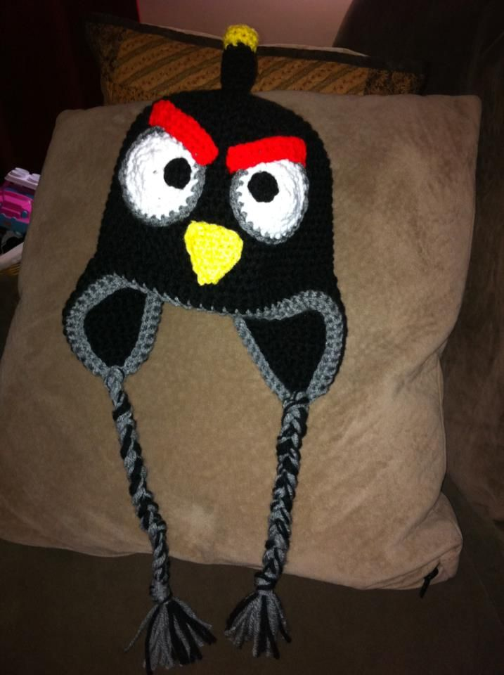 DaisyMae Crochet  Black Angry Bird - Angry Bird Crocheted hat! I  3 the  bomb bird! hee heee 7a2278a7d5c0