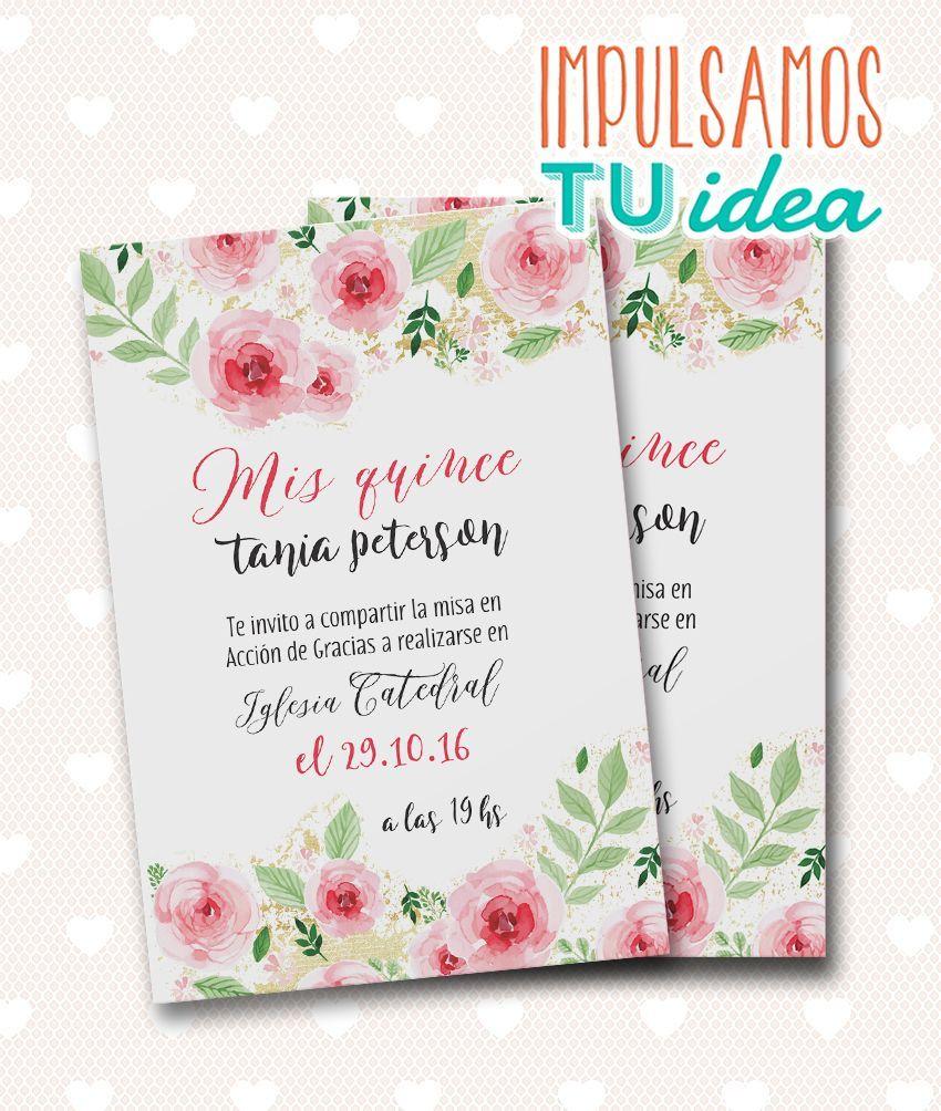 Tarjeta De 15 Invitación De Quince Con Flores Para