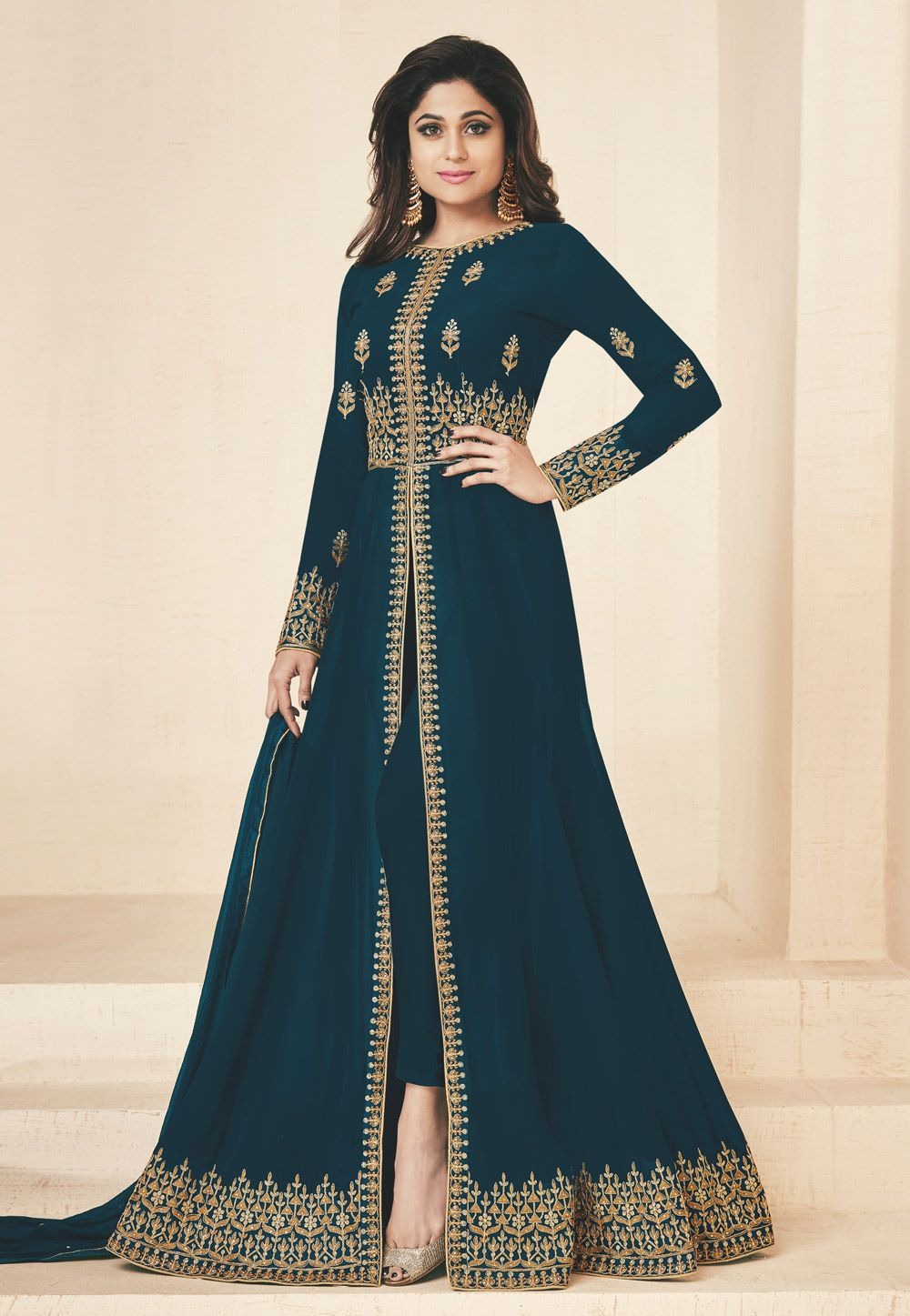 f18f1ed7c4 Buy Shamita Shetty Blue Georgette Bollywood Suit 157050 online at lowest  price from huge collection of salwar kameez at Indianclothstore.com.