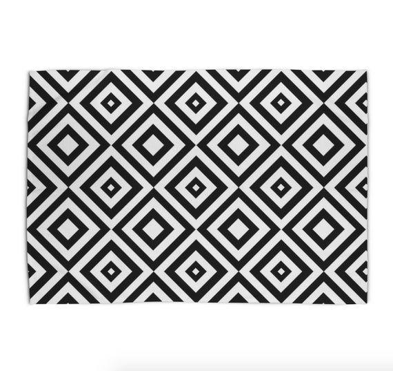 Black And White Area Rug Geometric Print Rug 5x7 Modern Rugs 3x5