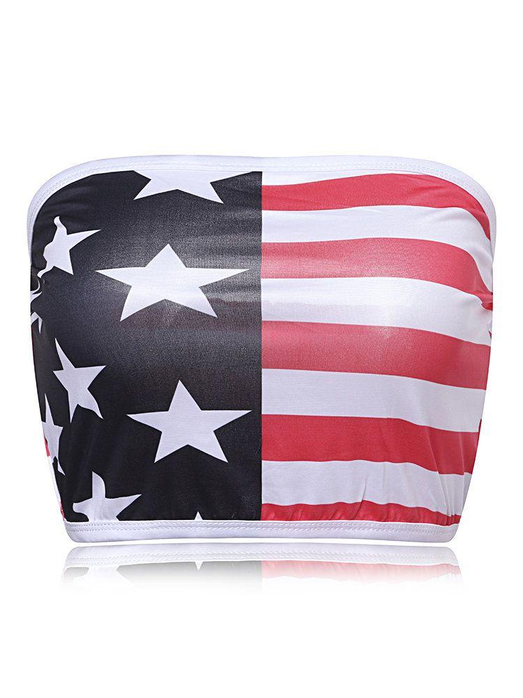 ab42530493 Sexy American Flag Star Striped Printed Strapless Wrap Chest TopSexy American  Flag Star Striped Printed Strapless Wrap Chest Top