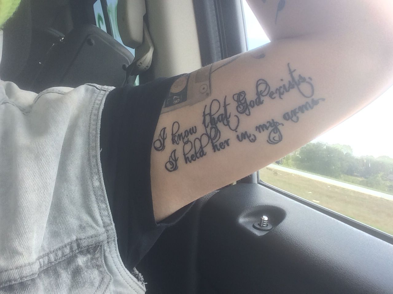 """""""I know that God exists, I held her in my arms"""" my tat / blue October"""