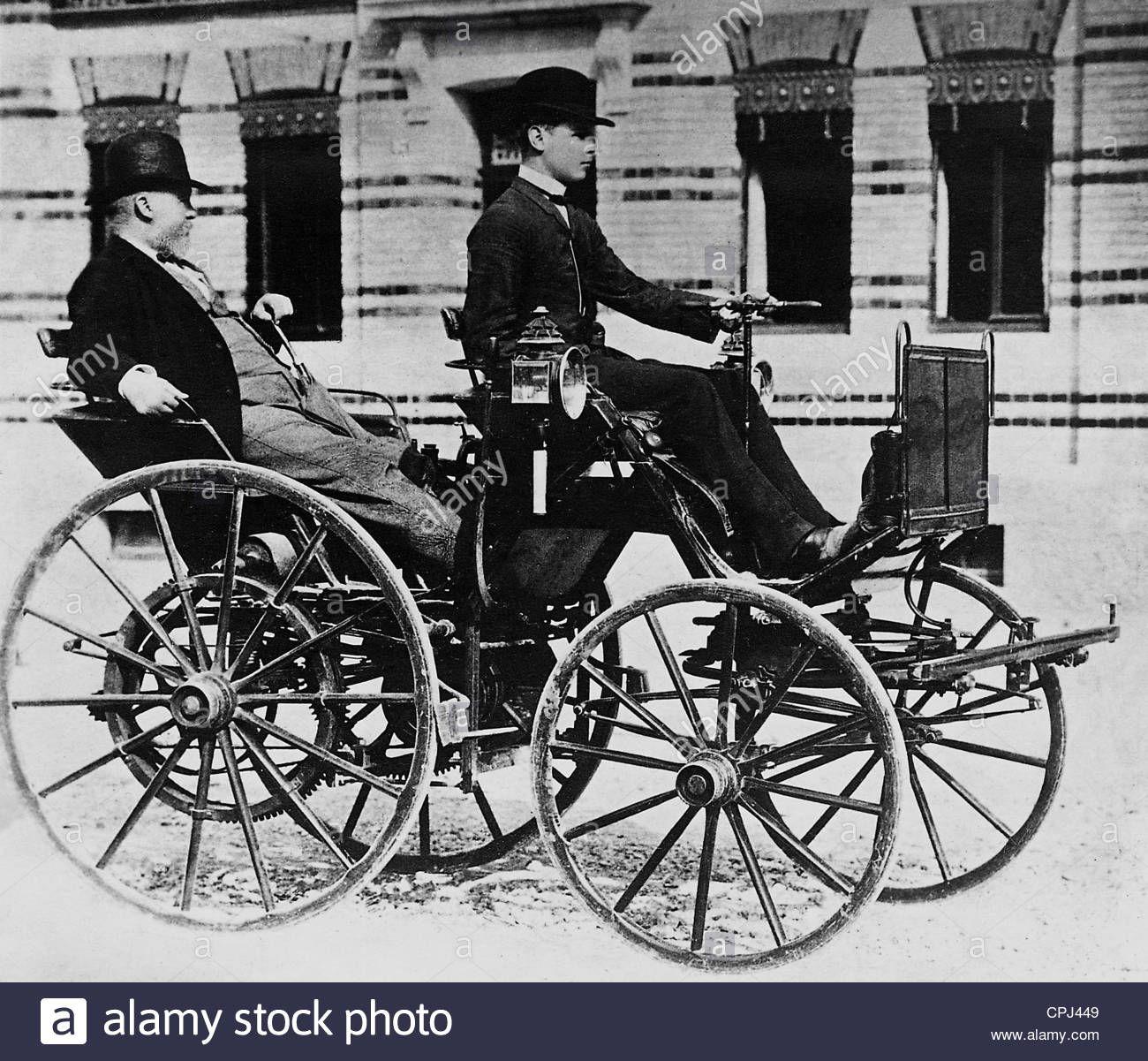 Gottlieb Daimler And His Son Adolf In A Daimler Motor Carriage