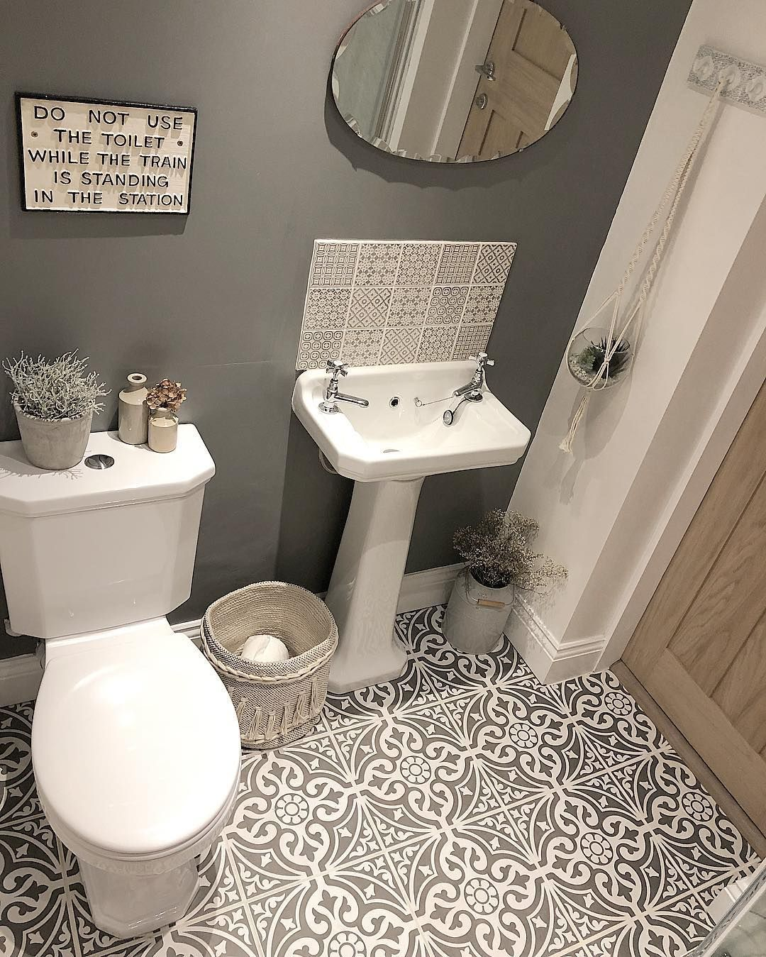 P A I N T I Have Finally Bought Paint For The Bathroom And Have Stretched Right Out Of The Comfort Gray And White Bathroom Brown Bathroom Small Bathroom