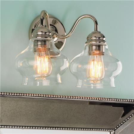 Vanity Light Glass Globes : Clear Cloche Glass Bath Light- 2 Light Bath light, Bath and Glass