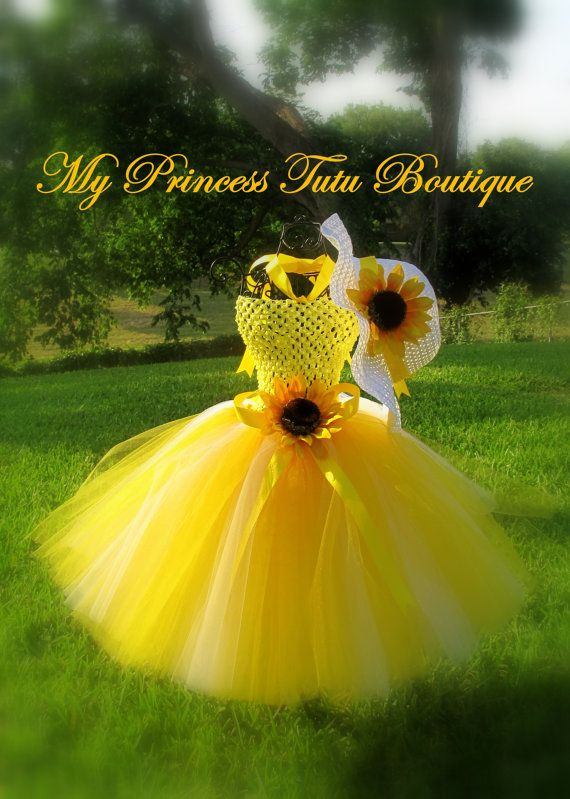06658af9f27e0 Sunflower Tutu Dress Yellow Tutu Dress Flower Girl Tutu Dress Summer ...