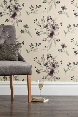 Buy Paste The Wall Mauve Elegant Floral Wallpaper from the Next UK online shop