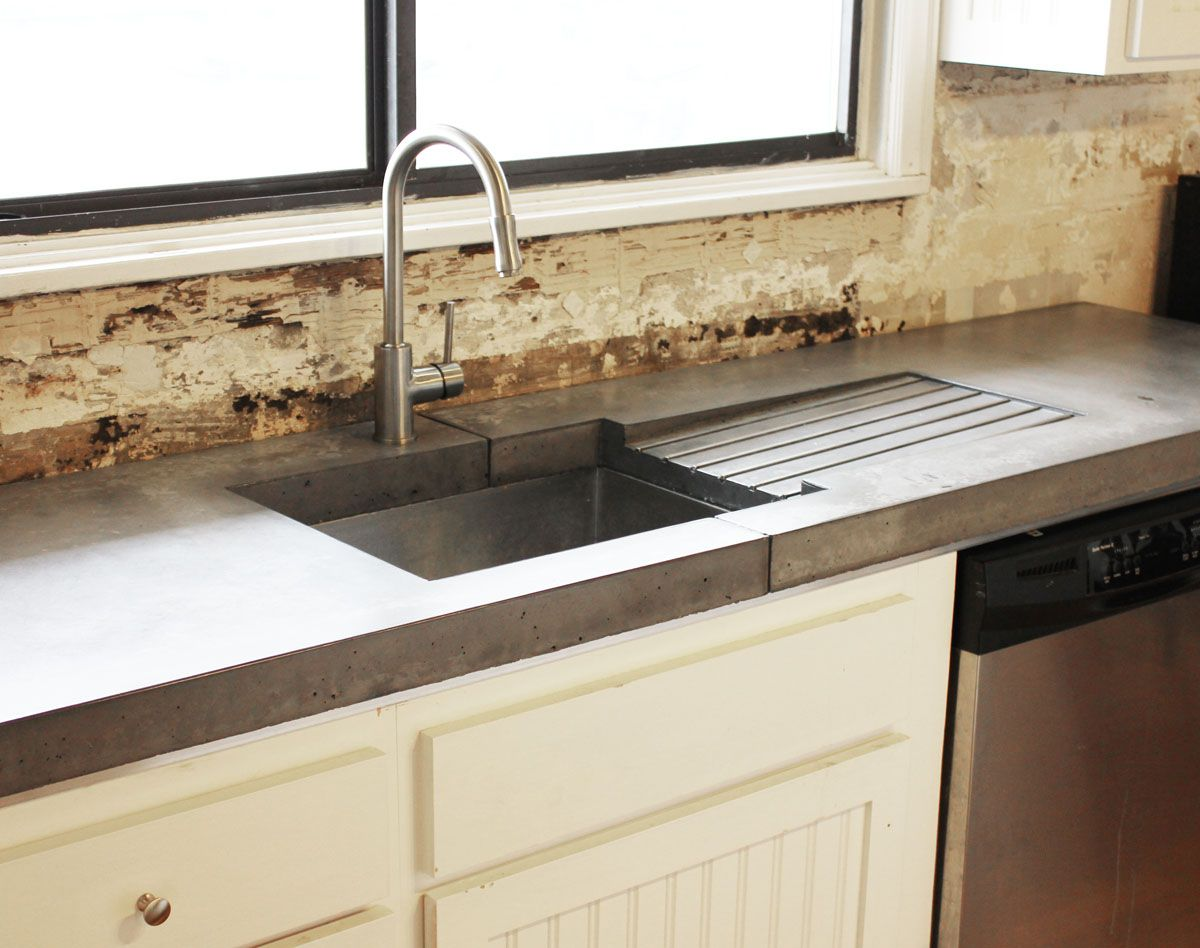 Concrete Counter With Stainless Sink
