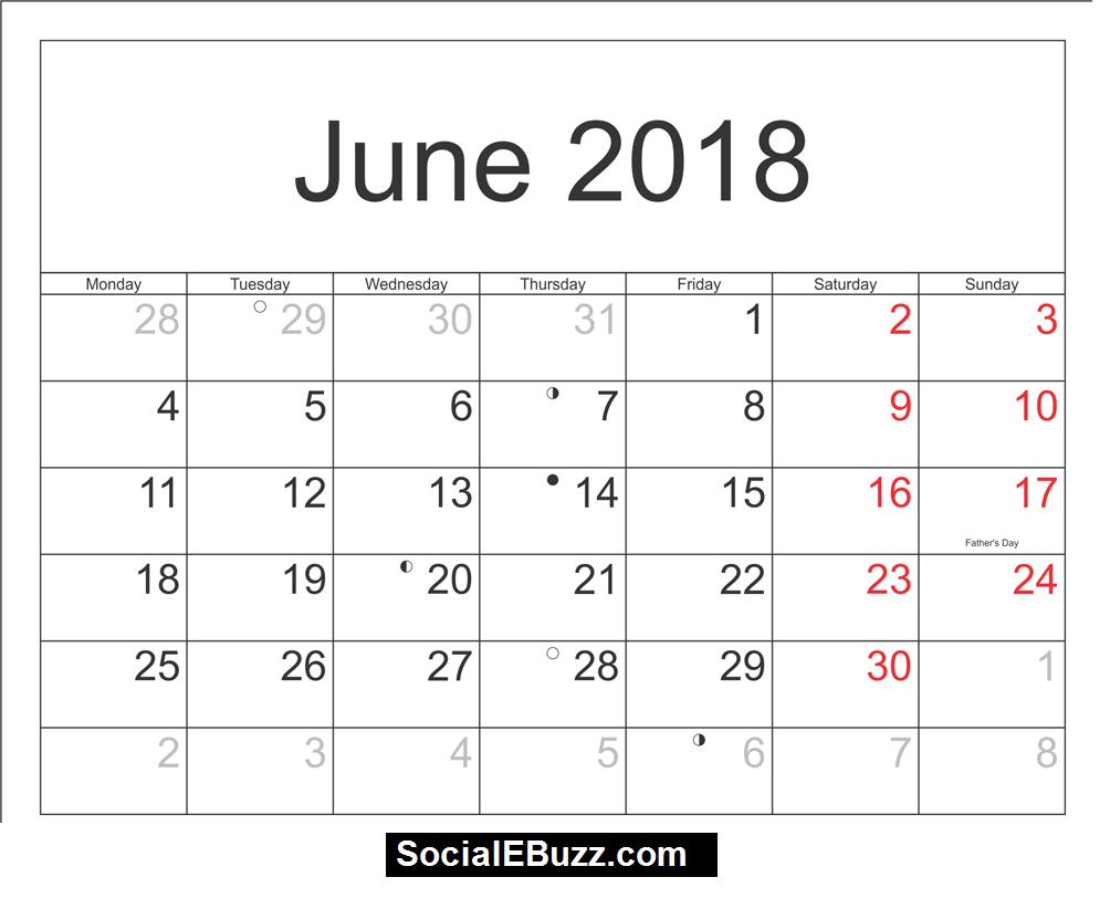 June 2018 Calendar Printable Template, June Calendar 2018, June 2018  Printable Calendar, June