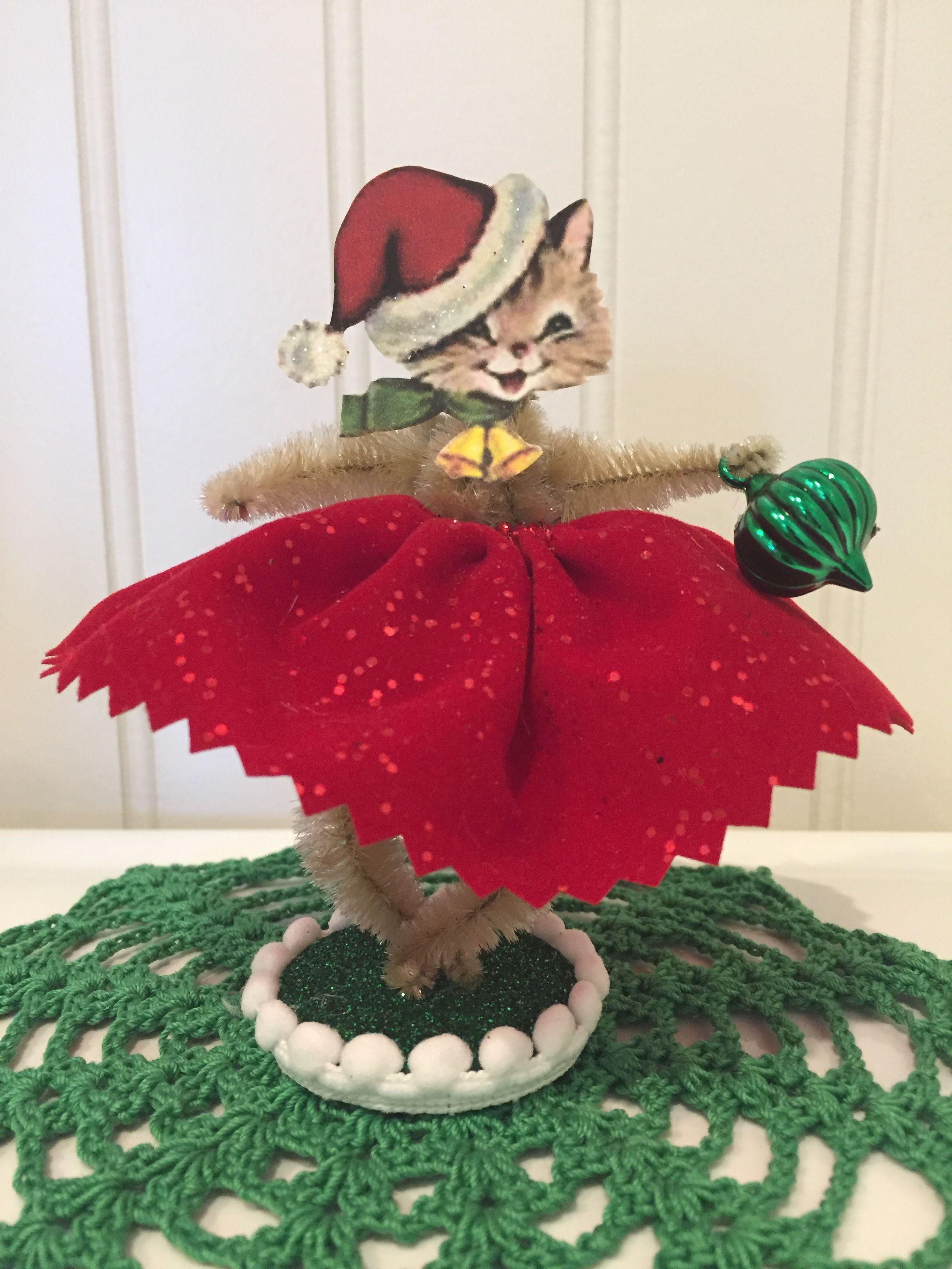 Vintage Style Bump Chenille Christmas Figure Christmas
