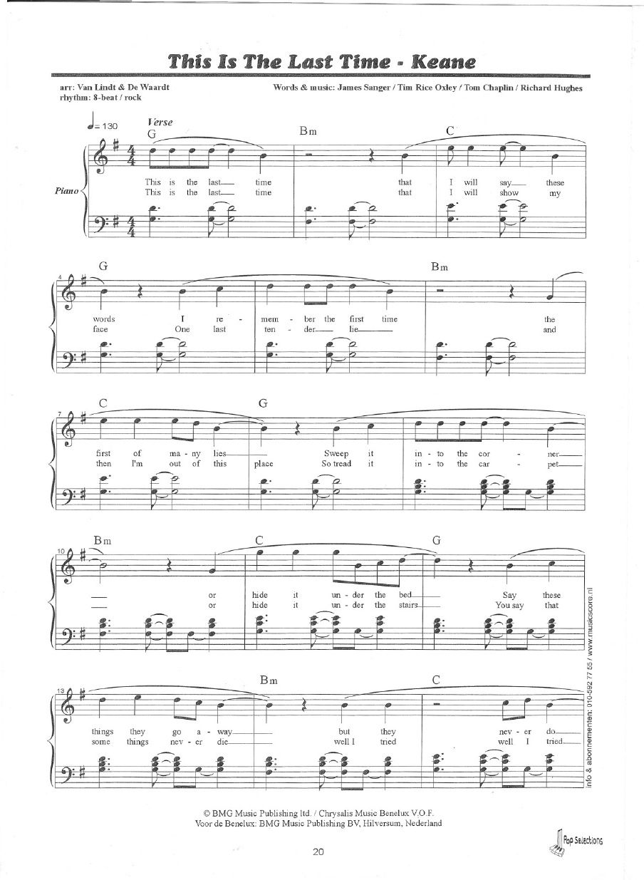 Keane this is the last time sheet music piano scribd