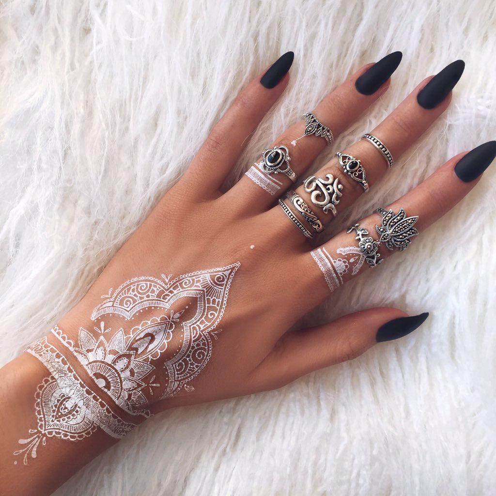 Perfection white henna tattoo nail jewelry henna