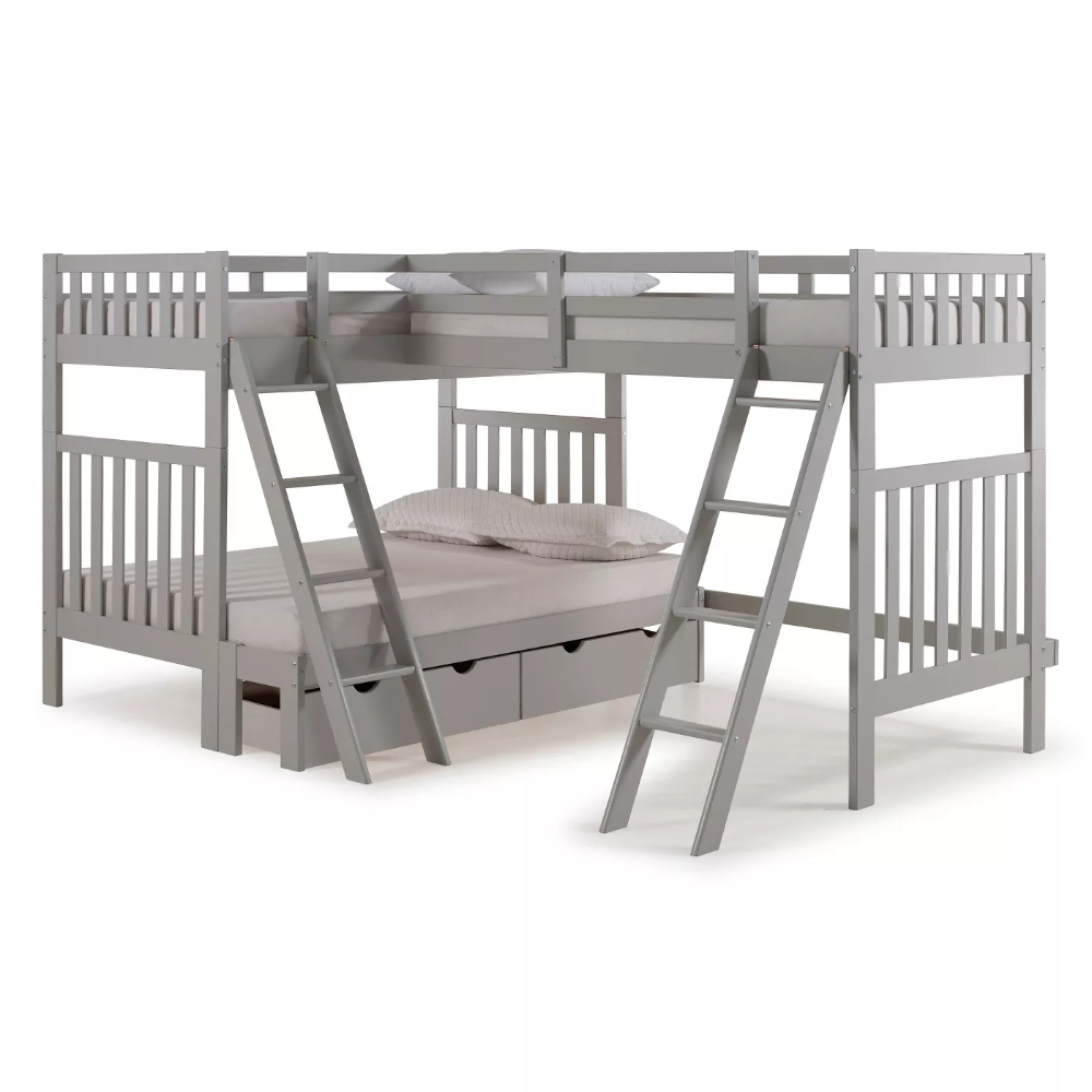 Twin Over Full Aurora Bunk Bed With Tri Bunk Extension And