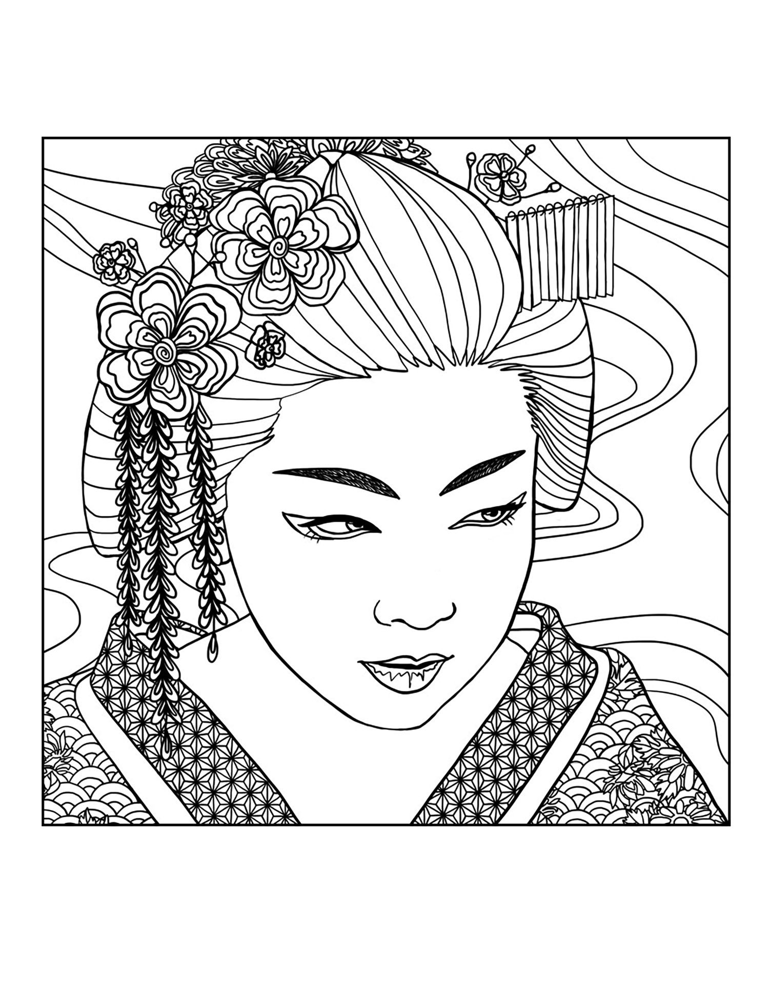 Free coloring page coloring adult geisha face by mizu Exclusive