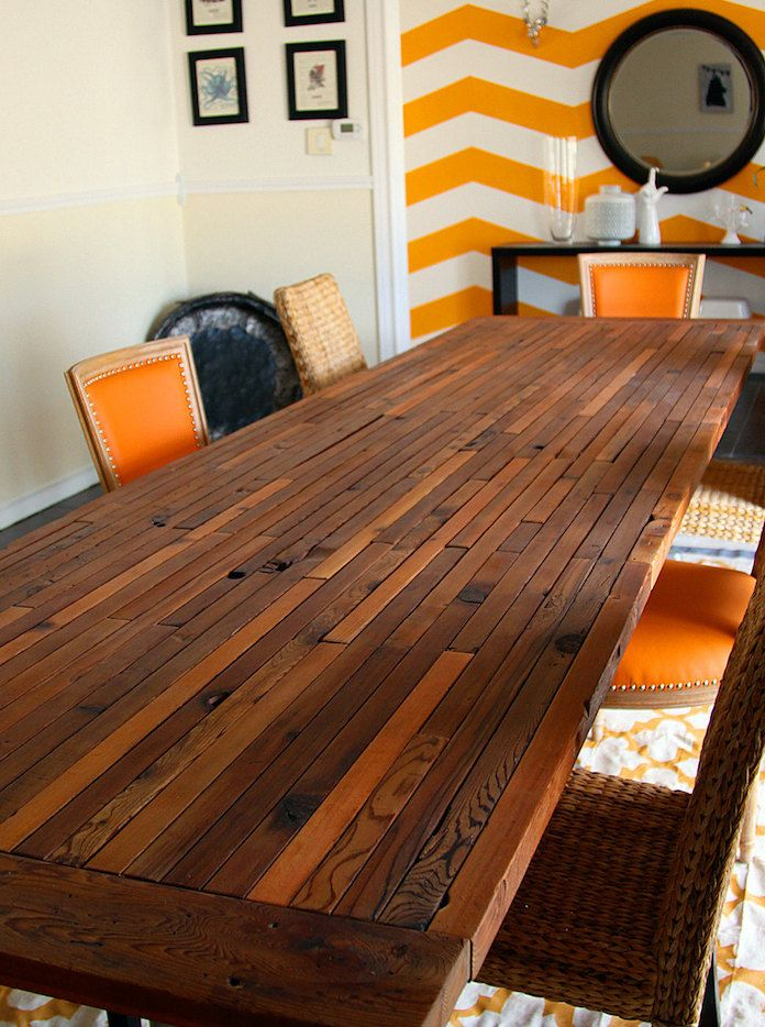 Reclaimed wood conference table - handmade  design with an edge