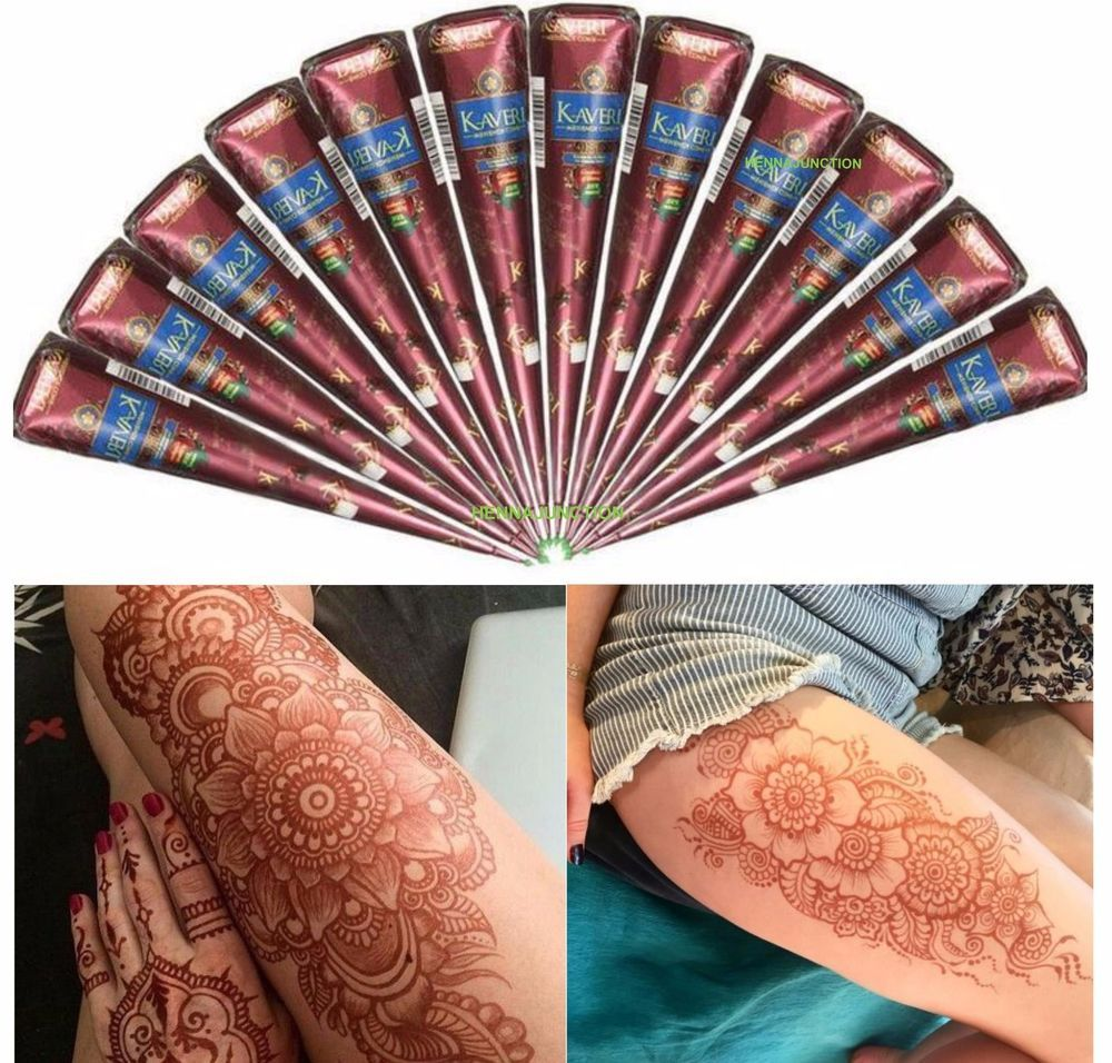 aee613cd826bc 12 Henna Natural Tattoo Temporary Cones Kaveri Body Art Ink Paste Mehndi Kit  #naturalhenna #hennatattookit #hennacones