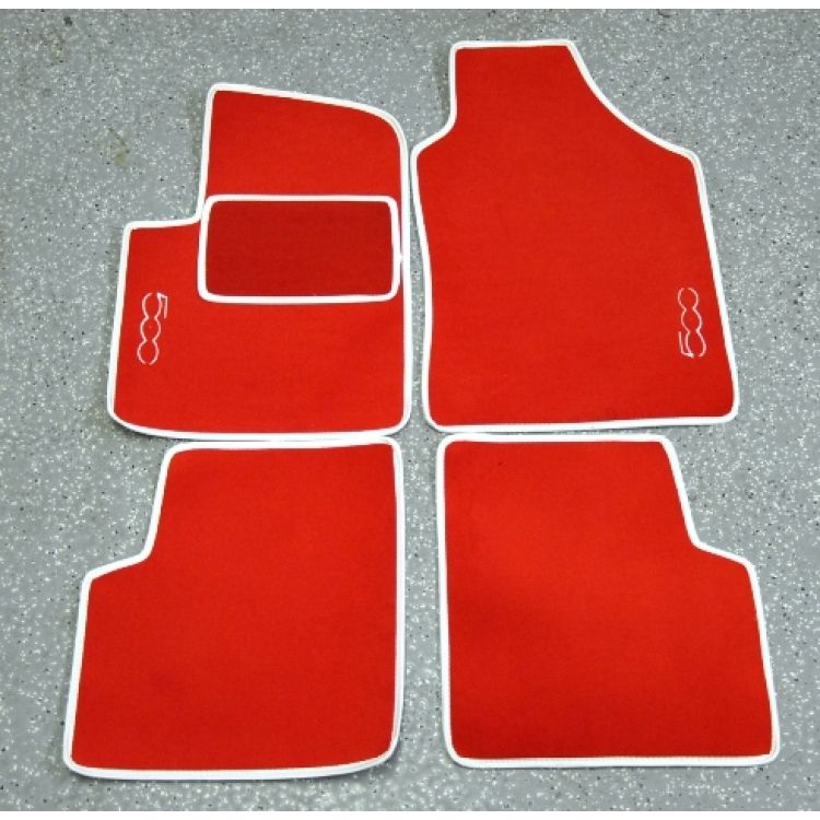 Fiat 500 Floor Mats By Black Set Of 4 Carpet Red W 500 Logo Fiat 500 Parts And