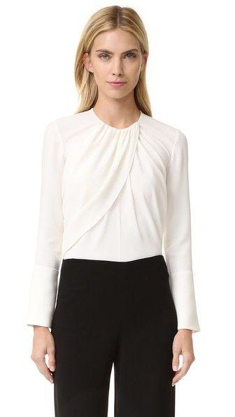 DEREK LAM Long Sleeve Ruched Blouse. #dereklam #cloth #dress #top #shirt #sweater #skirt #beachwear #activewear