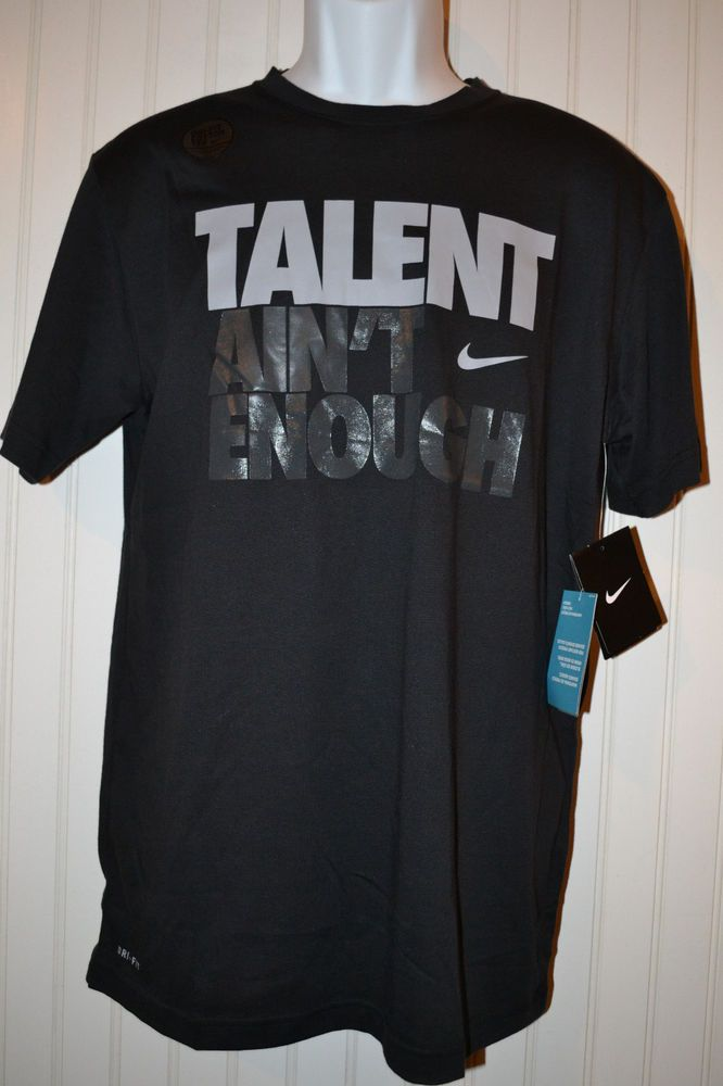 d43c1f82 Nike Mens Basketball Black TALENT AIN'T ENOUGH Dri-FIT T-Shirt 623948 010  MEDIUM #Nike #GraphicTee