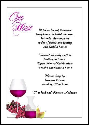 Latest And Popular Grapes And Wine Open House Party Invitations At