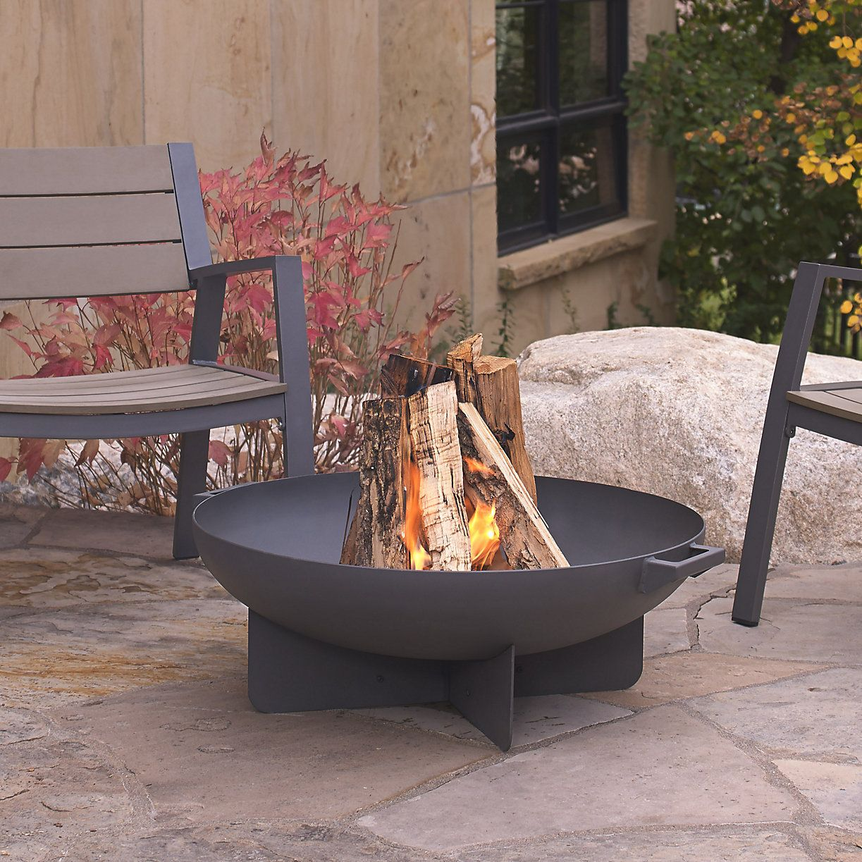 Real Flame Anson Footed Round Fire Bowl   Wood burning ...
