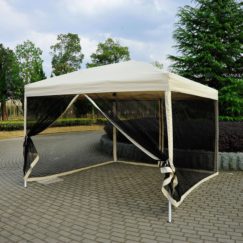Outsunny 3 x 3m Gazebo Canopy Pop Up Tent Mesh Screen Garden Outdoor Shade Mesh