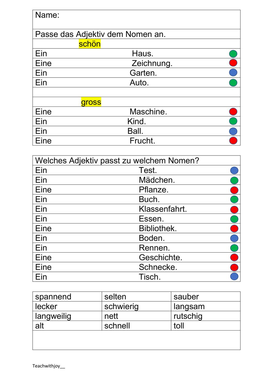 Adjektive anpassen. 20 Differenzierungen – Unterrichtsmaterial im ...