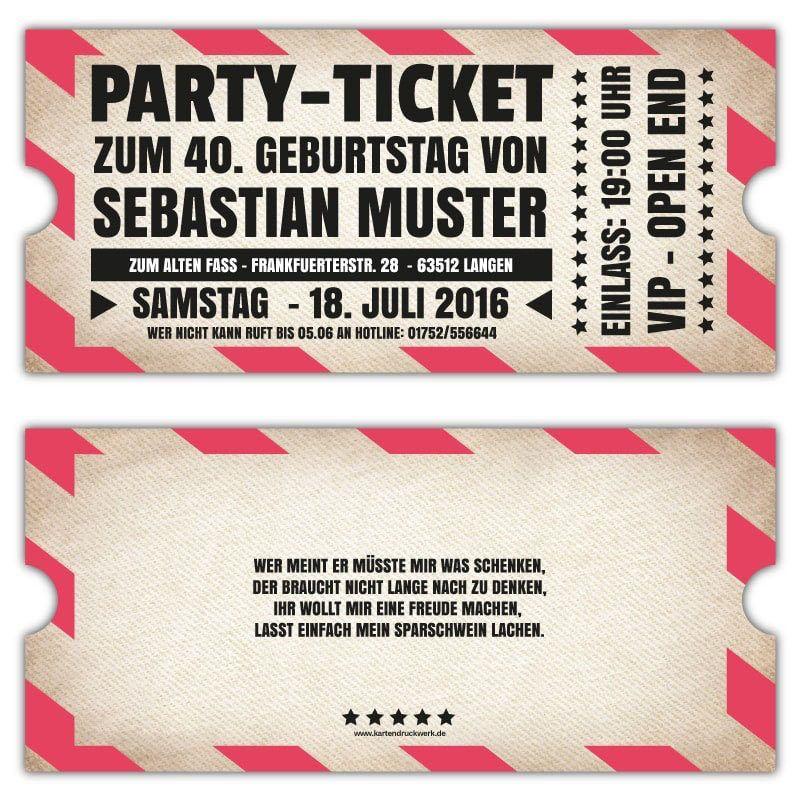 Vintage Einladungskarten Zum Geburtstag Als Ticket Vip Einladung