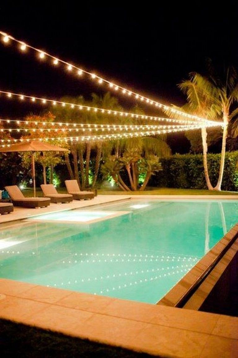 22 Lovely Swimming Pool Lighting Ideas For Luxury Home Pool Landscaping Backyard Pool Outdoor Pool