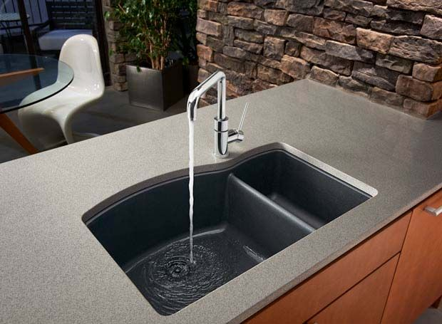 blanco silgranit diamond series 112 double bowl undermount kitchen sink in anthracite - Granite Composite Sinks