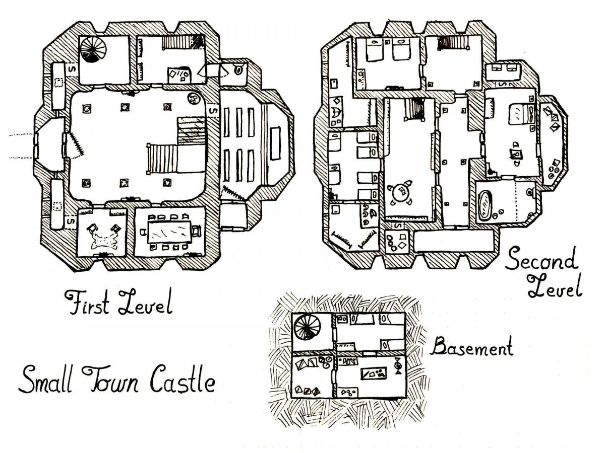 how to draw a castle on a map