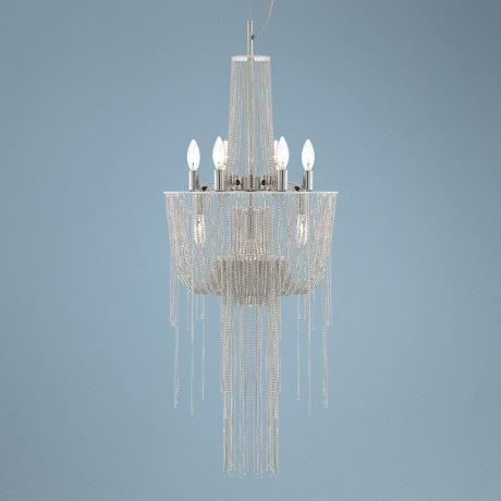 Sweeping Chain 9+1-Light Silver Chandelier