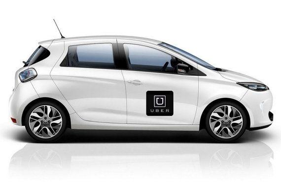 2x Uber logo Vinyl Decal Sticker Businiess Car Taxi Lyft Van Tips
