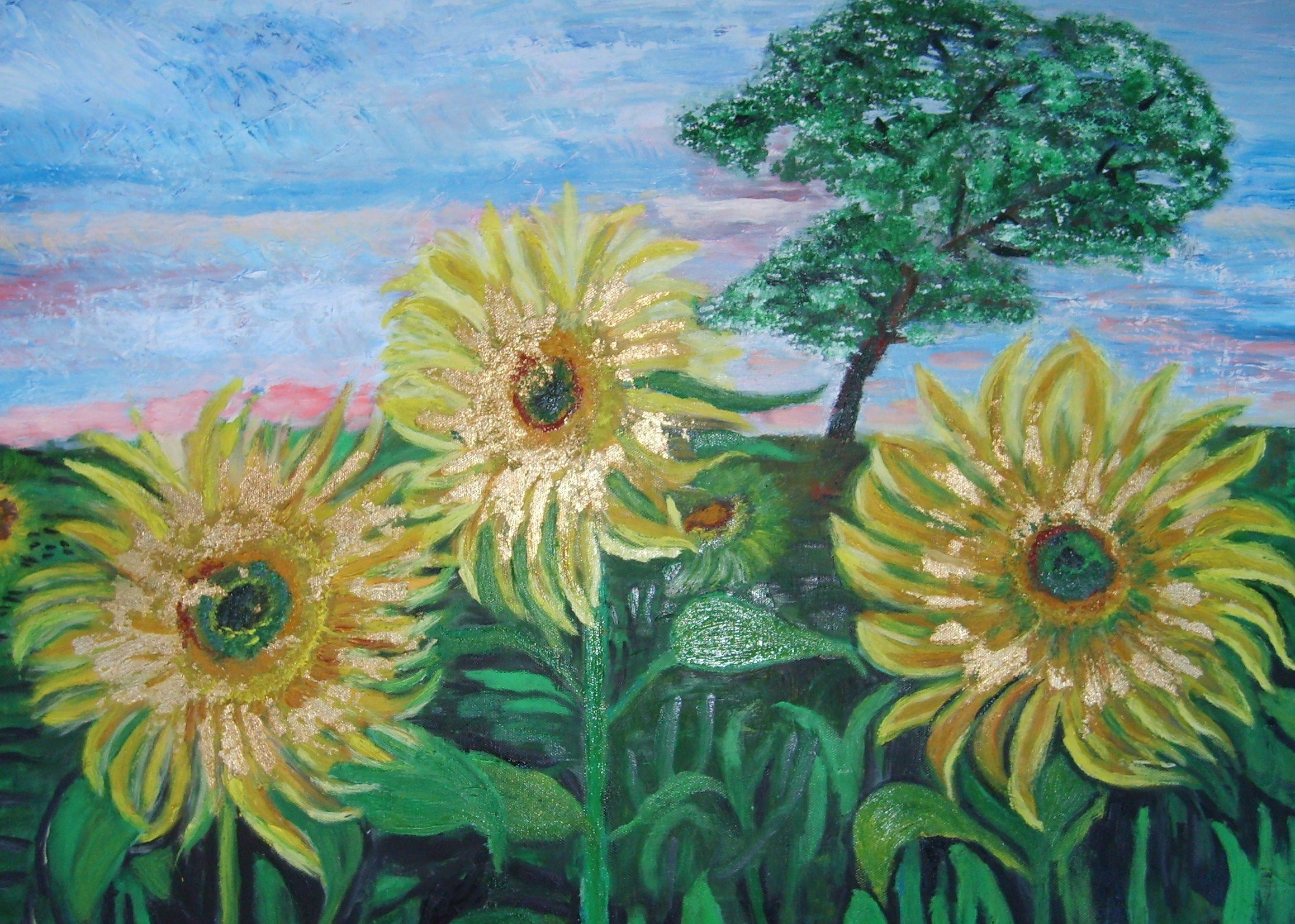 Sunflower field oil painting on canvas 70x50 from Gerald ...