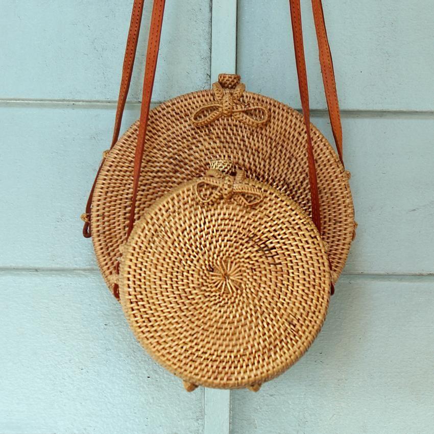 8932e6fd3e Atta Reina Cross Body Round Straw Bag - Small Round Rattan Bag ( 6 ...