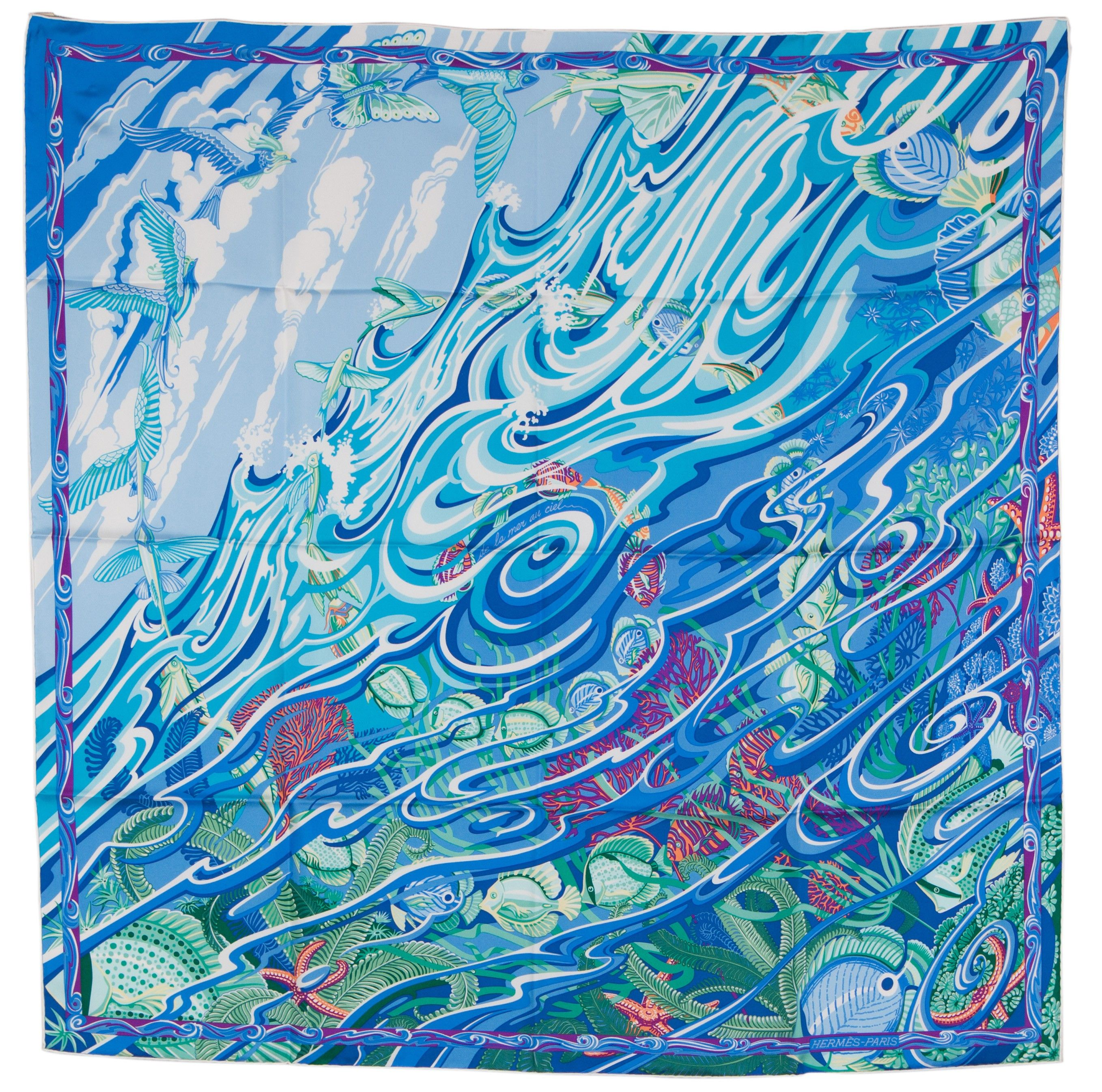 "Hermes ""De La Mer au Ciel"" in Blue Green 90cm Silk Scarf Carre by"