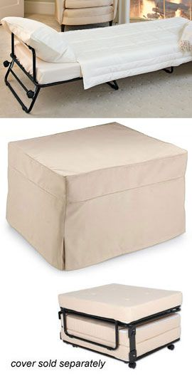 Fold-Out Ottoman Bed Hide a guest bed in plain sight! Ottoman by day ...