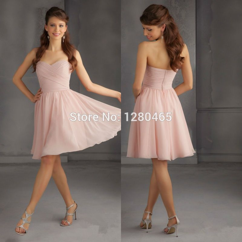 2015 Short Blush Pink Bridesmaid Dress Short Prom Dress Cheap ...