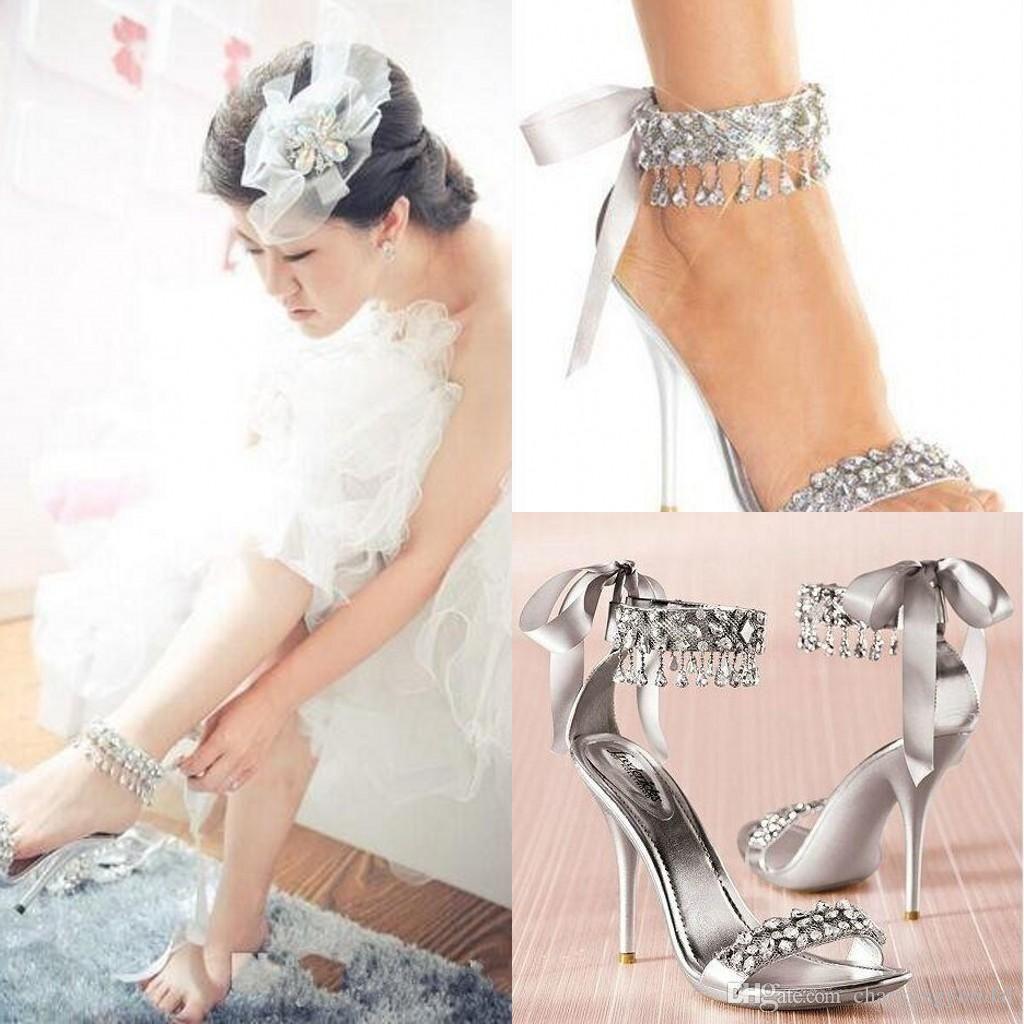 ee2c7861f71f New Fashion Wedding Shoes Silver Rhinestone High Heels Women S Shoe Wedding  Bridal Shoes Sandal Bridal Shoes Silver Shoes Wedding T Bar Wedding Shoes  From ...