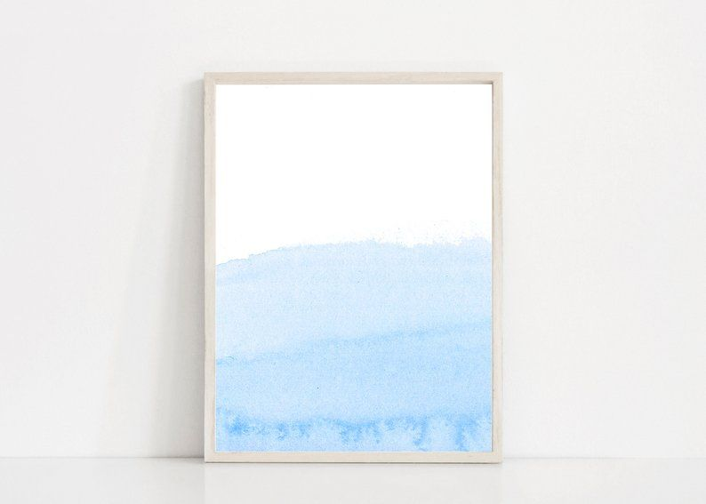 Pastel Blue Watercolor Print Light Blue Print Blue Wall Etsy Blue Wall Art Blue Painting Modern Abstract Print